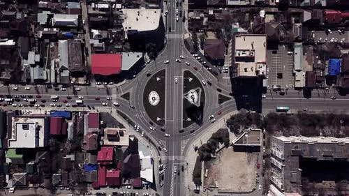 Aerial View Time Lapse of the Expressway, Urban City Circle Road with Trucks and Cars