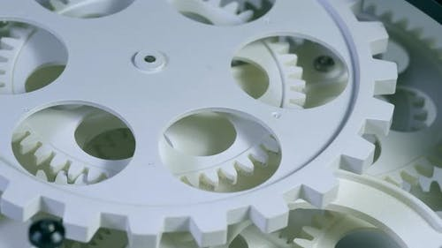 Old White Color Gears Mechanism Rotation 9