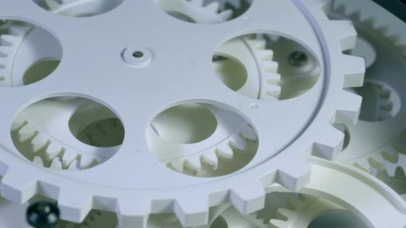 Thumbnail for Old White Color Gears Mechanism Rotation 9
