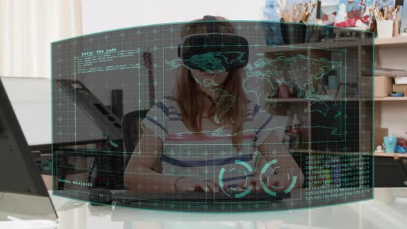 Thumbnail for Young Teenager Girl with an Immersive Virtual Display Around Her