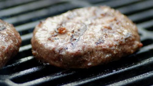Homemade Meat Burger Is Grilled with Smoke