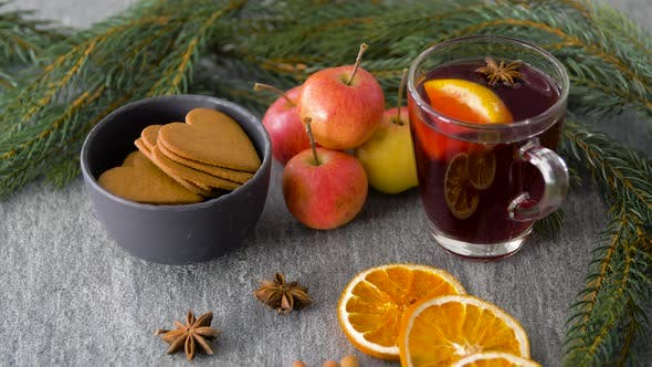 Thumbnail for Glass of Hot Mulled Wine, Cookies, Apples and Fir