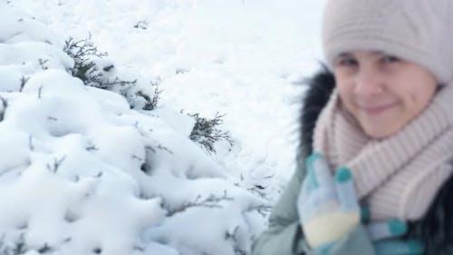 Happy Teen on Winter Landscape