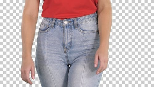 Casual woman walking in high jeans and red t-shirt, Alpha Channel
