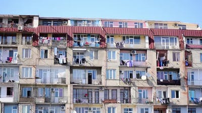 Clothes Drying Outside Balconies In Caucasus.Tbilisi.Georgia