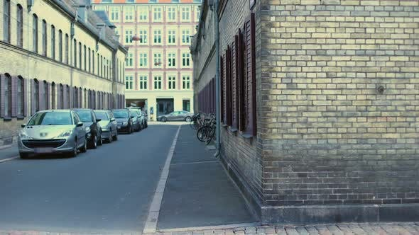Old Streets of Copehagen With Cars and Bicycles, Ancient Architecture, History