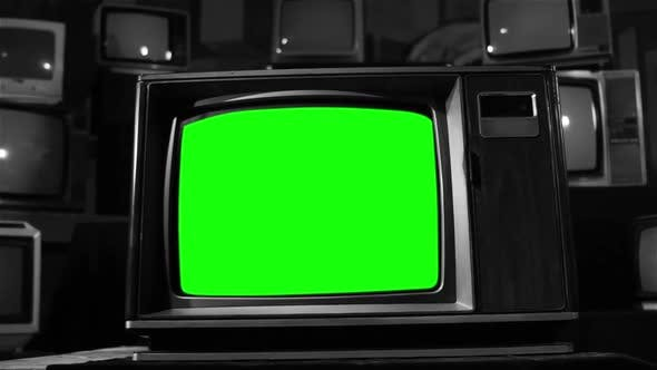 Old TV with Green Screen and a TVs Background. BW Tone.