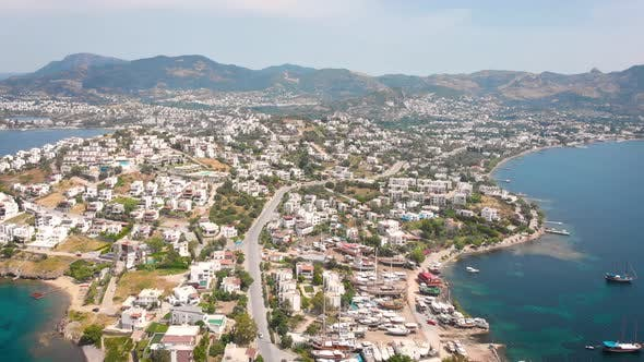 Bird Eye View of the City with Hotels and White Houses Onthe Ocean Coast at Noon