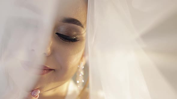 Thumbnail for Gesicht der schönen und schönen Braut im Nacht-Kleid unter dem Schleier, Hochzeit