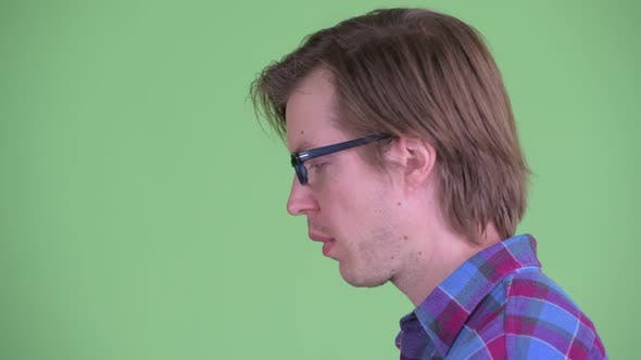 Thumbnail for Closeup Profile View of Stressed Young Hipster Man with Face Palm Gesture