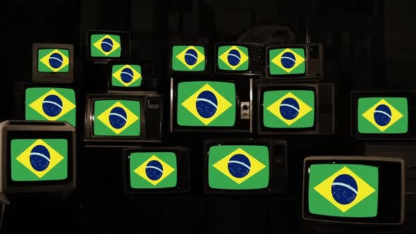 Thumbnail for Brazil Flags and Vintage Televisions. Sepia Tone.