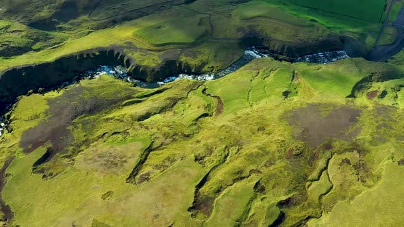 Flying Above the Wild Mountain Skogar River Under the Eyjafjallajokull Volcano in Southern Iceland