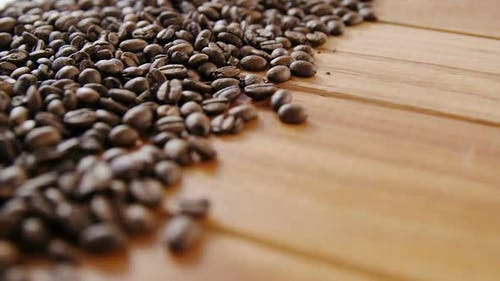 Close-up of scattered coffee beans