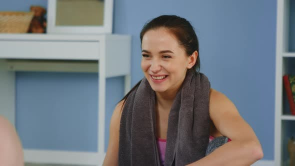 Young Woman Is Joyful After Morning Training