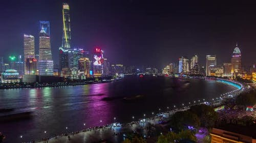 Buildings with Ads on Huangpu Banks in Shanghai Timelapse