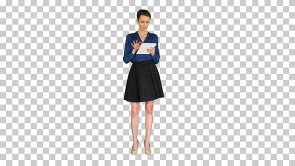 Thumbnail for Businesswoman working on digital tablet, Alpha Channel
