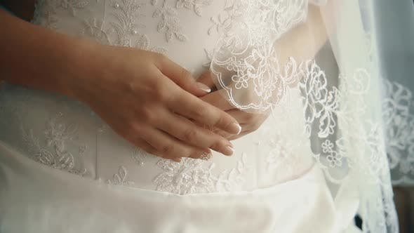 Thumbnail for Young Beautiful Bride Worried Before the Wedding, Hands, Close-up