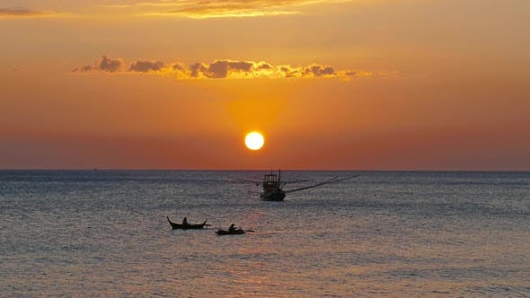 Thumbnail for Fishing Boat in the Sea Against Sunset