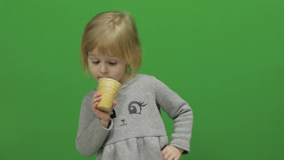 Thumbnail for Kid Girl Eat Ice Cream on a Green Screen, Chroma Key