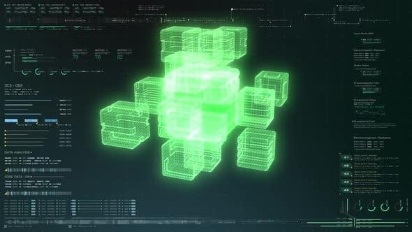 Futuristic Quantum Computing Simulation HUD
