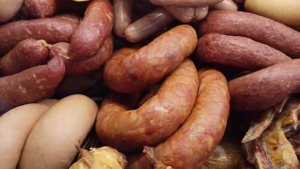 A Variety of Smoked, Cured Sausages, Sausages, Smoked Meat
