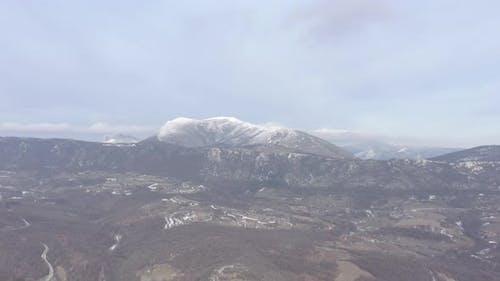 Winter scenery on mountain Stol 4K aerial footage