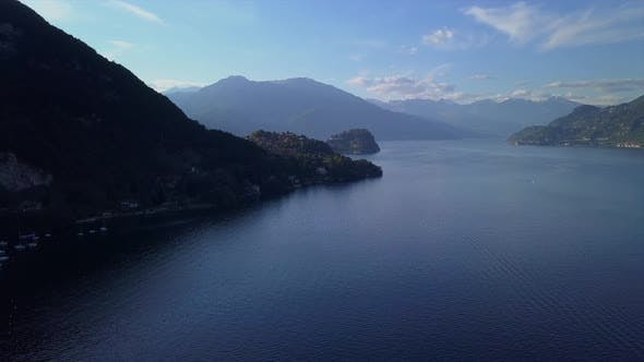 Thumbnail for Aerial Flying Over Mountain Lake Como in North of Italy, Lot of Lakeside Villages, Sunny Weather