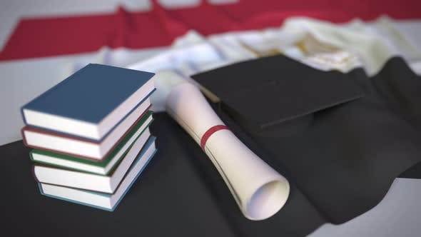 Graduation Cap and Diploma on the Flag of Egypt