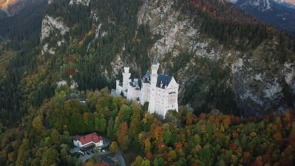 Thumbnail for Aerial View on Neuschwanstein Castle with Autumn Colors. Bavaria, Germany.