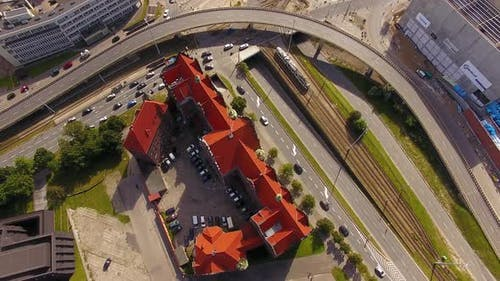Aerial view of the Federal Government Building of Gdansk, Poland