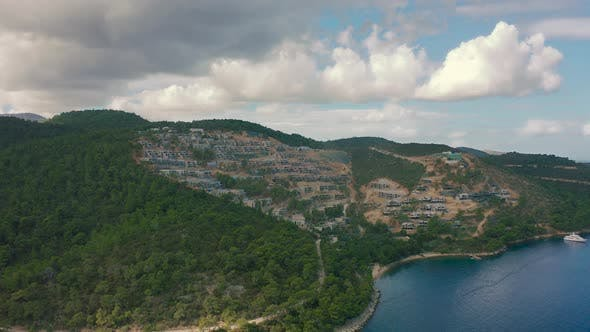 Hotel and Villas Under Construction on Mountains and Sea View in the Popular Turkish City of Bodrum