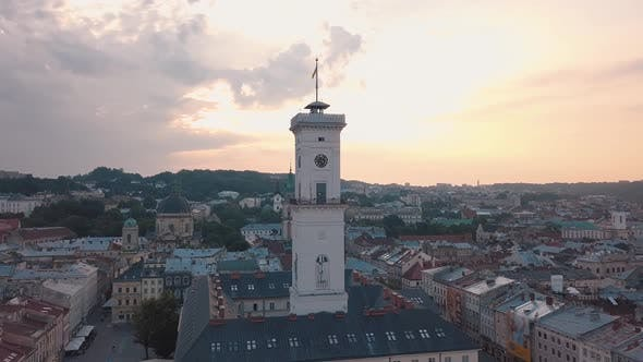 Cover Image for Aerial City Lviv, Ukraine. European City. Popular Areas of the City. Town Hall