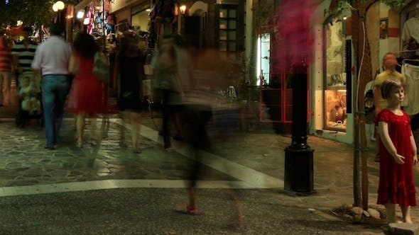 Cover Image for Tourists Crowded Main Shopping Street, Agios Nikolas