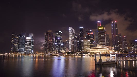 Thumbnail for Storm Clouds over Singapore Skyline Timelapse