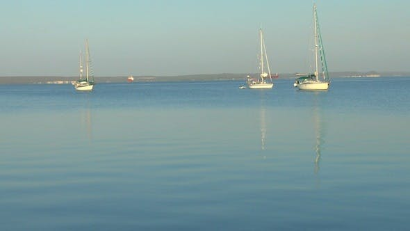 Cover Image for Three Yachts In Marina After Sunrise