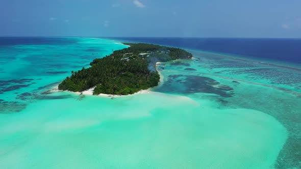 Thumbnail for Aerial flying over panorama of exotic shore beach lifestyle by blue ocean and white sandy background