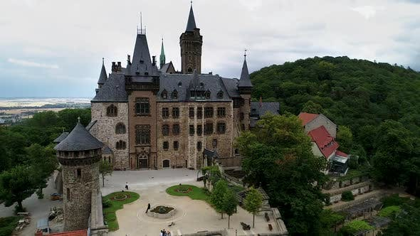 Thumbnail for Stock video  Aerial view of famous Vernigerode Castle