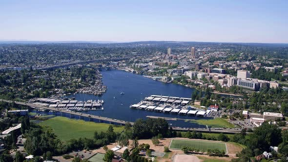 Thumbnail for Portage Bay Helicopter Aerial Over Lake Washington