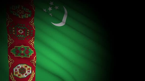 Cover Image for Turkmenistan Flag Blowing in Wind