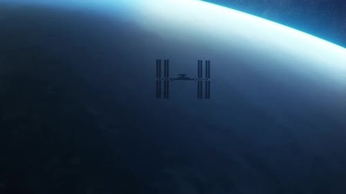 International Space Station ISS Orbiting Over Planet Earth in Outer Space