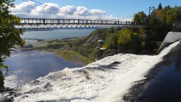 Thumbnail for A Long Bridge The Montmorency Falls In Quebec City Along The Saint Lawrence River