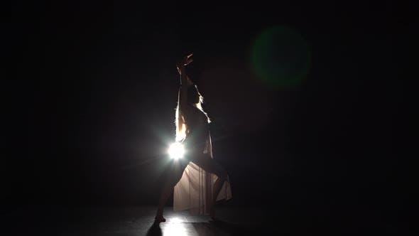 Thumbnail for Perfect Girl Dancing Contemp in Beam of Spotlight at Studio