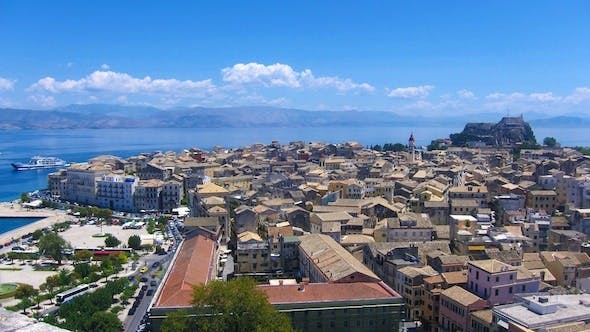 Cover Image for Aerial View of Old City During the Day, Corfu Time Lapse