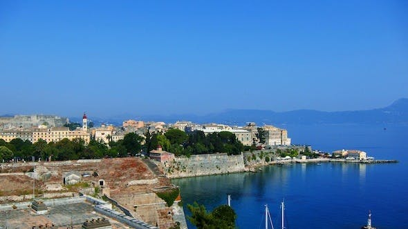 Thumbnail for Aerial View of Old City During the Day, Corfu Time Lapse
