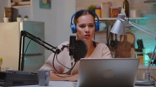 Content Creator Recording New Podcast Episode
