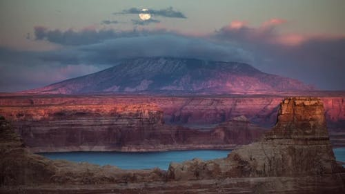 Time Lapse of the Moon Rising over Navajo Mountain at Sunset