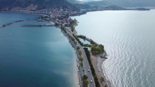 Aerial photo of Egirdir Lake Road to Green Island in Isparta