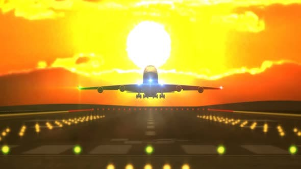 Thumbnail for Aircraft Landing in Front of Sunset