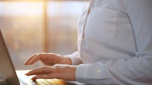 Closeup Woman Working Laptop Against Sunset