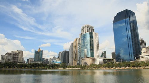 Modern Asian Buildings Pan Left to Right